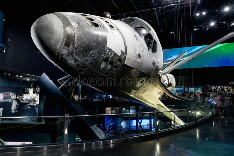 KENNEDY SPACE CENTER, FLORIDA, USA - SEBRUARY 19, 2017: Space Shuttle Atlantis at the visitor complex of Kennedy Space Center stock images