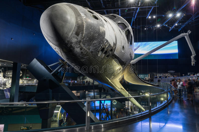 KENNEDY SPACE CENTER, FLORIDA, USA - SEBRUARY 19, 2017: Space Shuttle Atlantis at the visitor complex of Kennedy Space Center. Apollo Saturn V Center royalty free stock photography