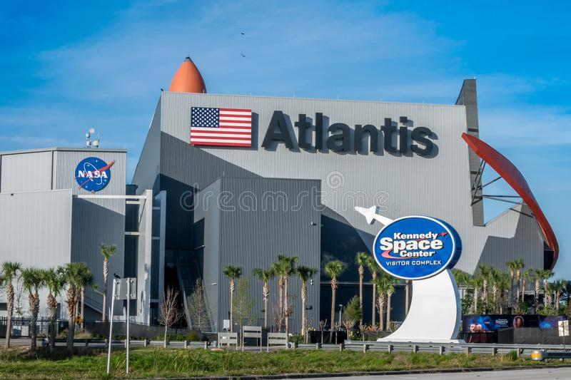 Kennedy Space Center Visitors Complex. Cape Canaveral, Florida, USA - March 30, 2018: Kennedy Space Center Visitors Complex offers tours, exhibits, and stock images