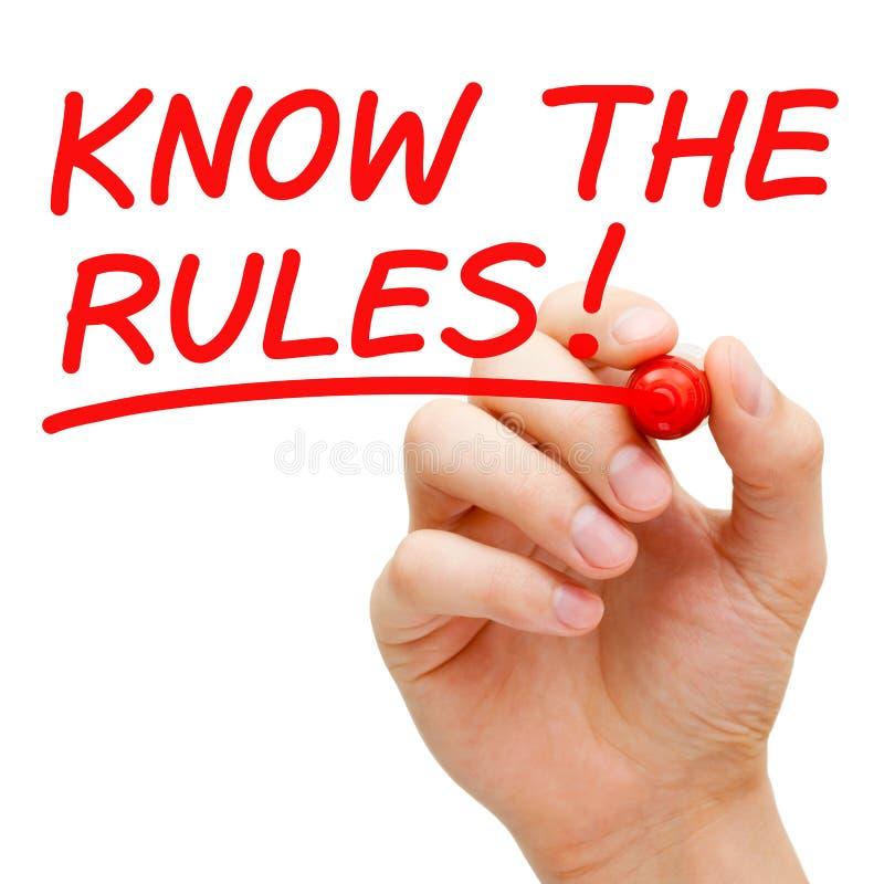 Kennen Sie die Regeln stockfotos