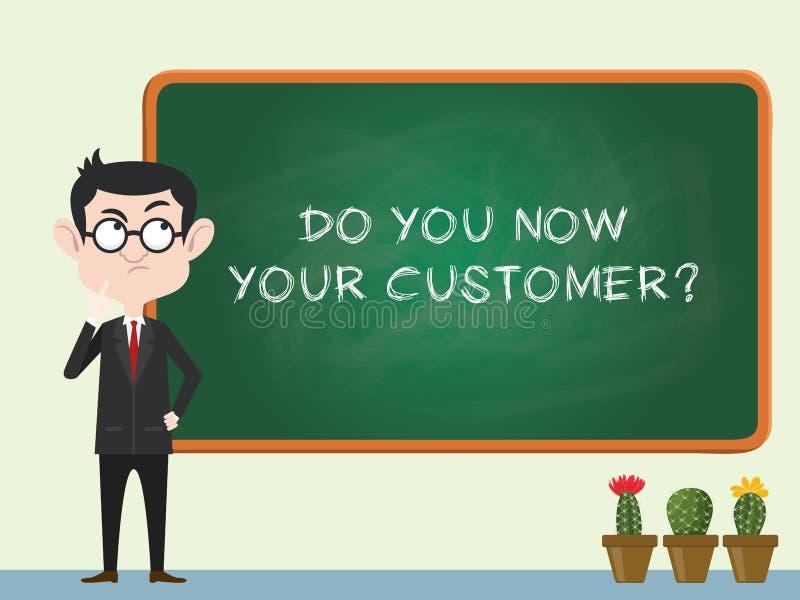Kennen Sie Ihr Kundenkonzept mit Geschäftsmannstellung auf der Tafel und dem denkenden Vektor vektor abbildung