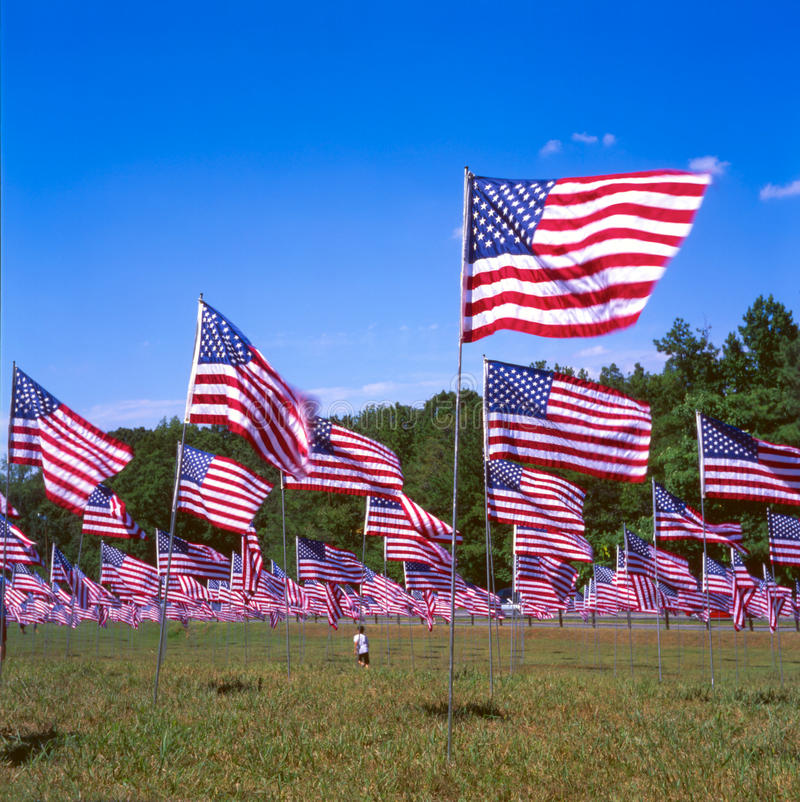 Kennesaw Mountain Flags. A field of flags at Kennesaw Mountain National Park in memory of September 11th stock photo