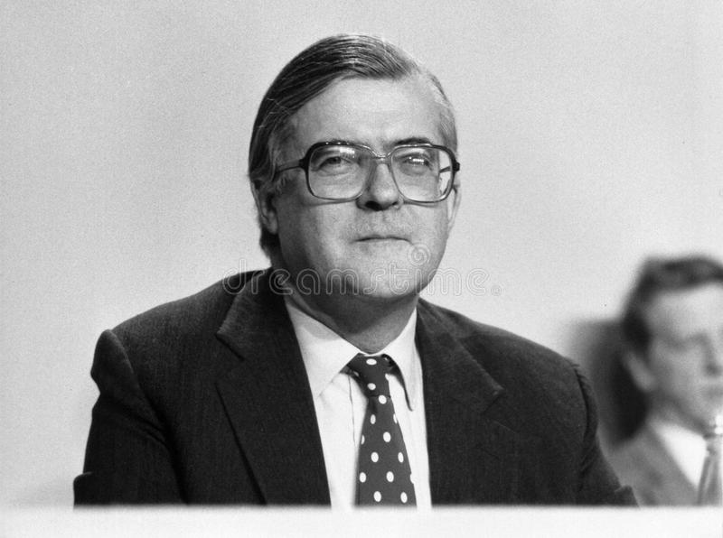 Kenneth Baker. Home Secretary and Conservative party Member of Parliament for Mole Valley, at a press conference in London on March 3, 1990 stock images