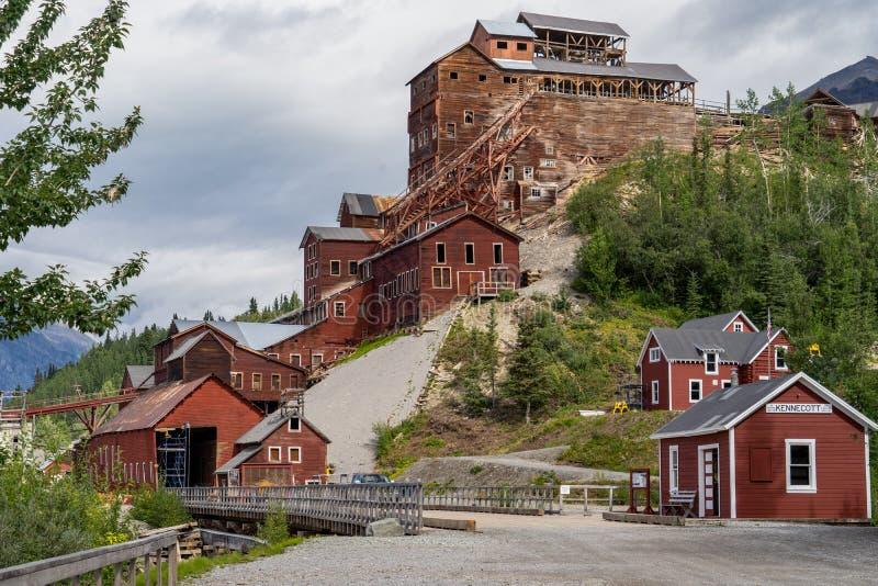 Kennicott kopalnia w McCarthy Alaska jest zaniechanym kopalnią miedzi obraz royalty free