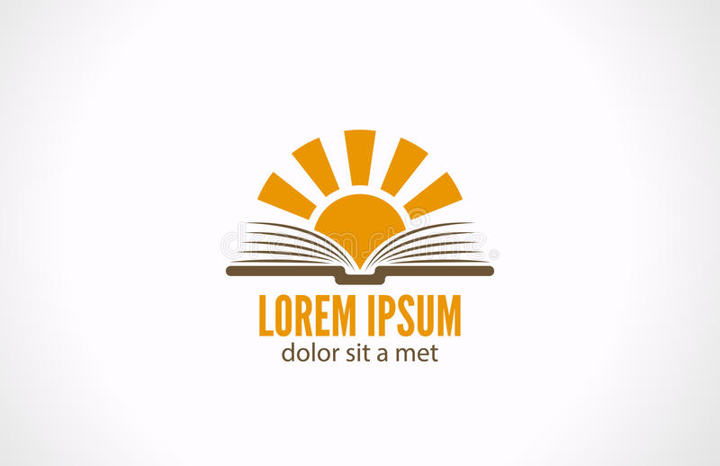 Kennis e-lezende bibliotheekconcept. Logo Sun over stock illustratie