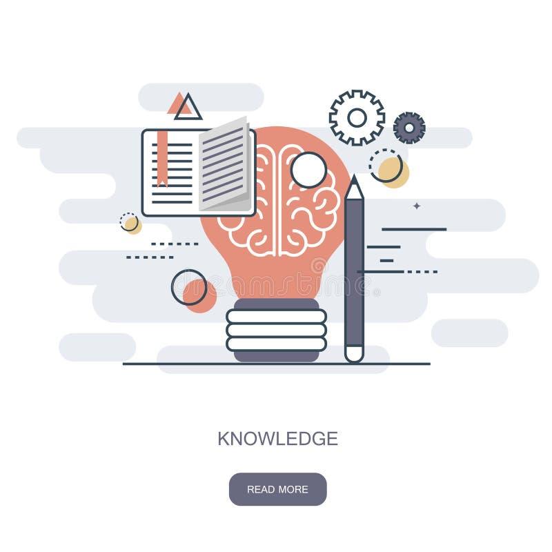 Kennis en wijsheidspictogram Het online leren, onderwijs, Webleerprogramma's Vlakke vector stock illustratie