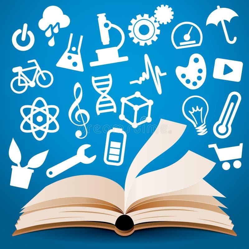 Kennis het Leren Boekachtergrond vector illustratie
