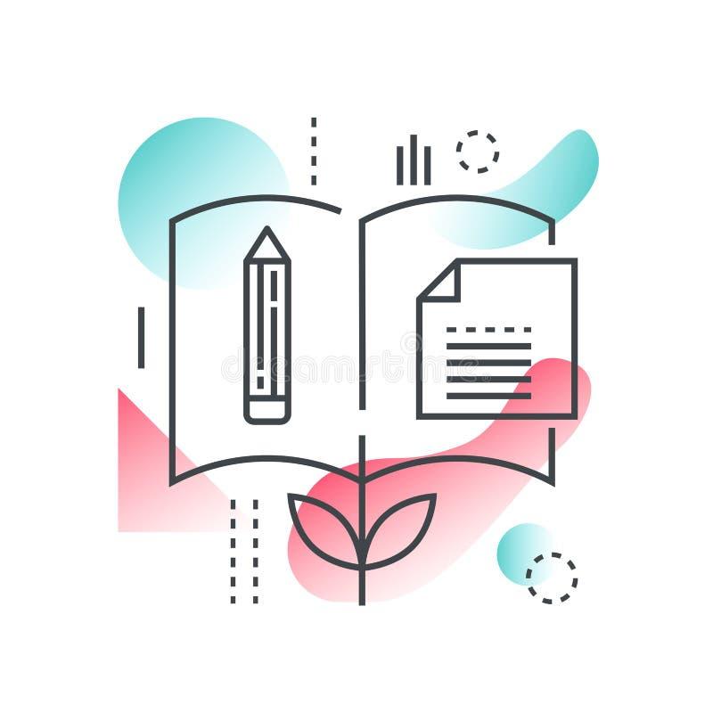 Kennis, wetenschap, school online onderwijs en universitair vectorconcept in in lijn met gradiënt vlakke kleur stock illustratie