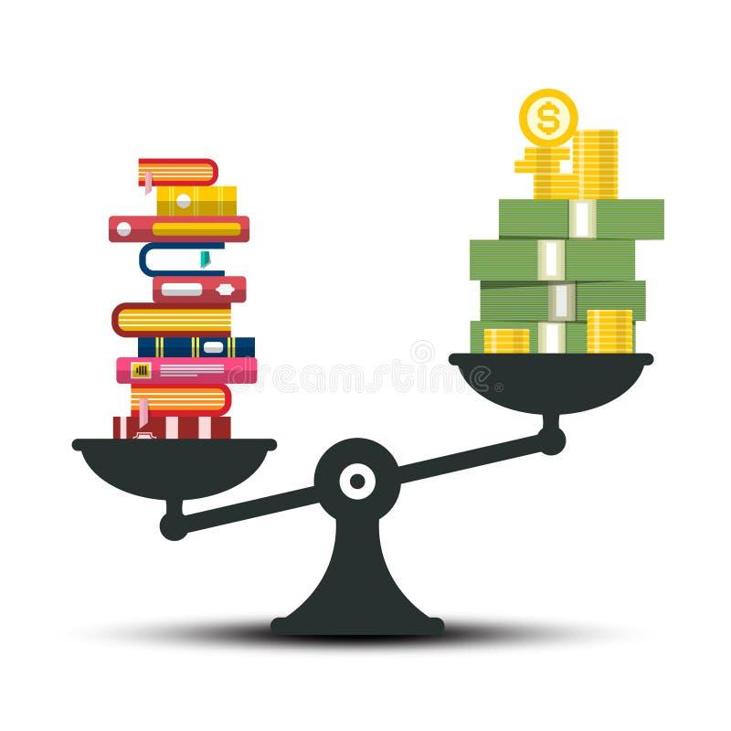 Kennis - Wijsheid en Rijkdomvergelijking Boeken en geld op schalen royalty-vrije illustratie