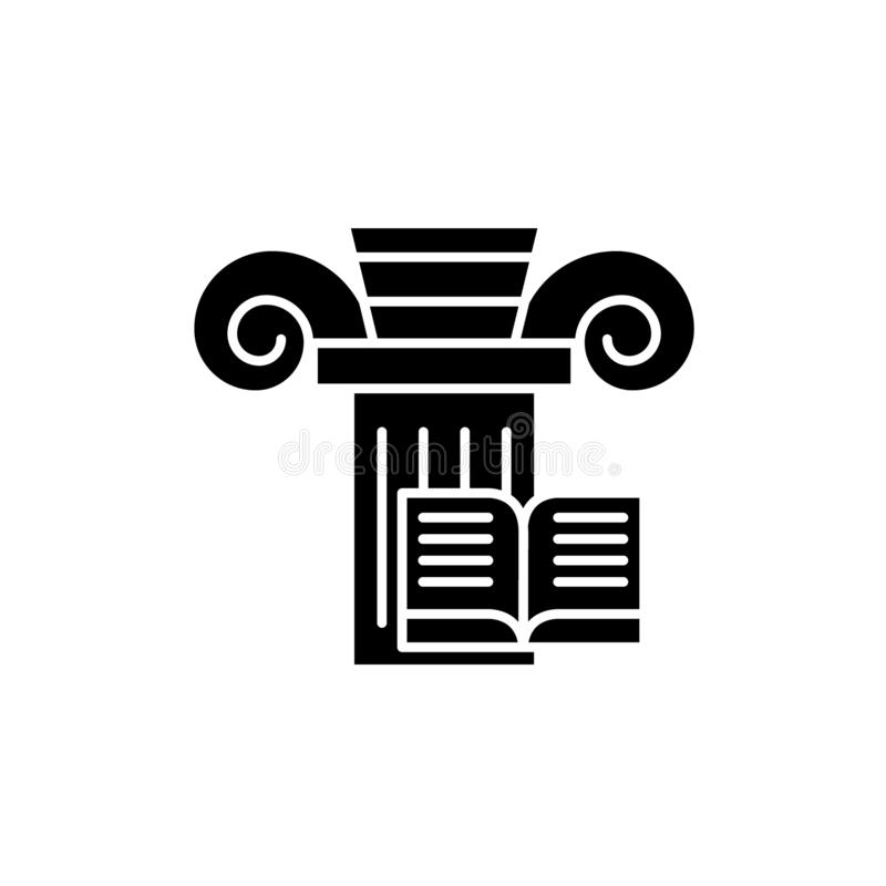 Kennis zwart pictogram, vectorteken op geïsoleerde achtergrond Het symbool van het kennisconcept, illustratie vector illustratie