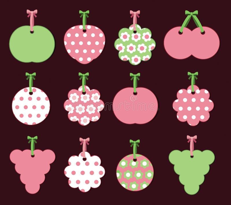 Kennsätze mit Früchten und Blumen lizenzfreie abbildung