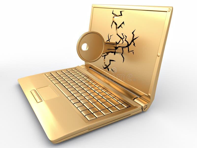 Kennwort zerhackt. Taste im Laptop lizenzfreie abbildung