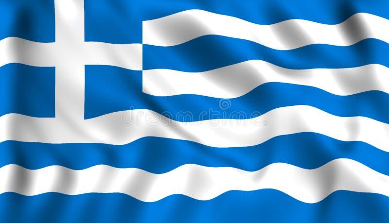 Kennzeichnen Sie Griechenland, das in das Windgriechesymbol wellenartig bewegt stock abbildung