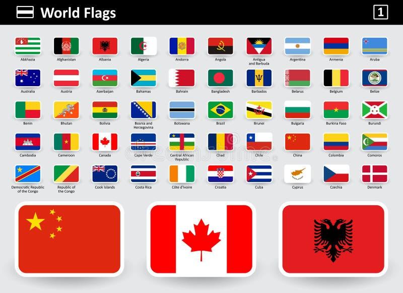 Kennzeichnen Sie Ikonen der Welt mit Namen in alphabetischer Reihenfolge lizenzfreie abbildung