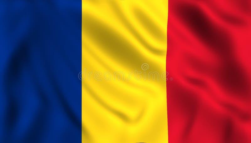 Kennzeichnen Sie Rumänien, das in das Windrumänesymbol wellenartig bewegt lizenzfreie abbildung