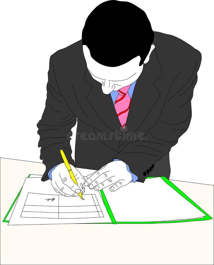 Kennzeichnendes Dokument des Geschäftsmannes vektor abbildung