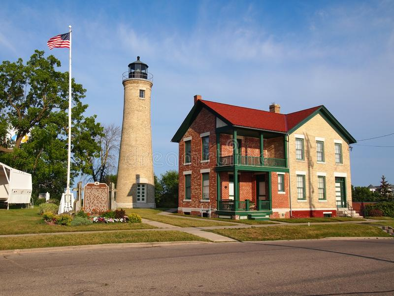 Kenosha Lighthouse Southport Light and Keeper`s House royalty free stock image
