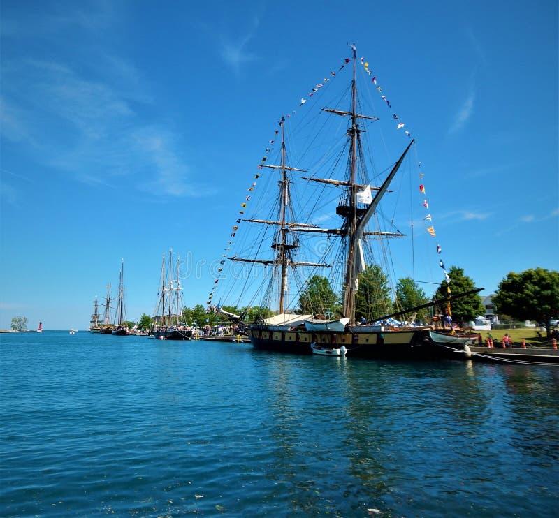 Kenosha Tall Ships 2019 Festival. Tall ships on display and tour in Kenosha Wisconsin August 2019 7 ships total stock photo