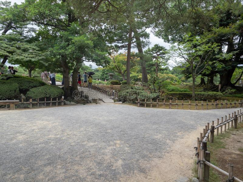Kenroku-en gardens, Kanazawa, Japan. Kanazawa/Japan - August 10 2018: Kenroku-en, is an old private garden. It is one of the Three Great Gardens of Japan stock images