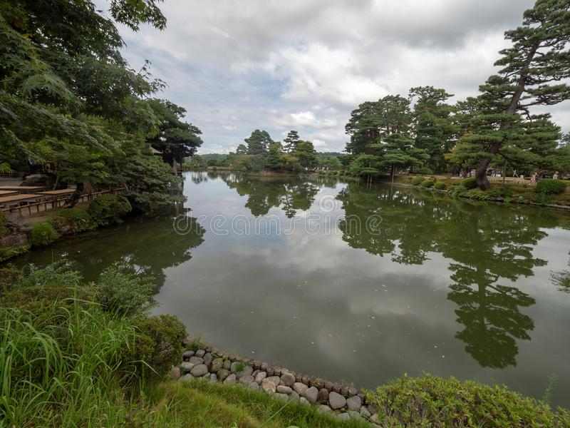 Kenroku-en gardens, Kanazawa, Japan. Kanazawa/Japan - August 10 2018: Kenroku-en, is an old private garden. It is one of the Three Great Gardens of Japan royalty free stock images