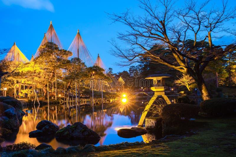 Kenrokuen庭院和今池城堡公园点灯在Kanazaw 库存图片