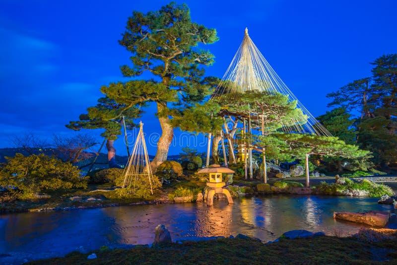 Kenrokuen庭院和今池城堡公园点灯在Kanazaw 免版税库存照片