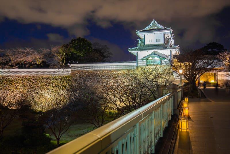 Kenrokuen庭院和今池城堡公园点灯在Kanazaw 免版税库存图片