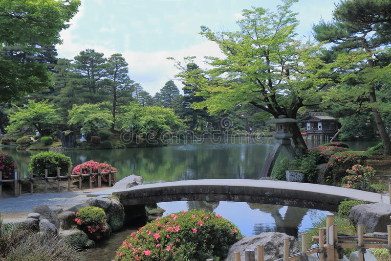 Kenrokuen庭院今池日本 库存图片