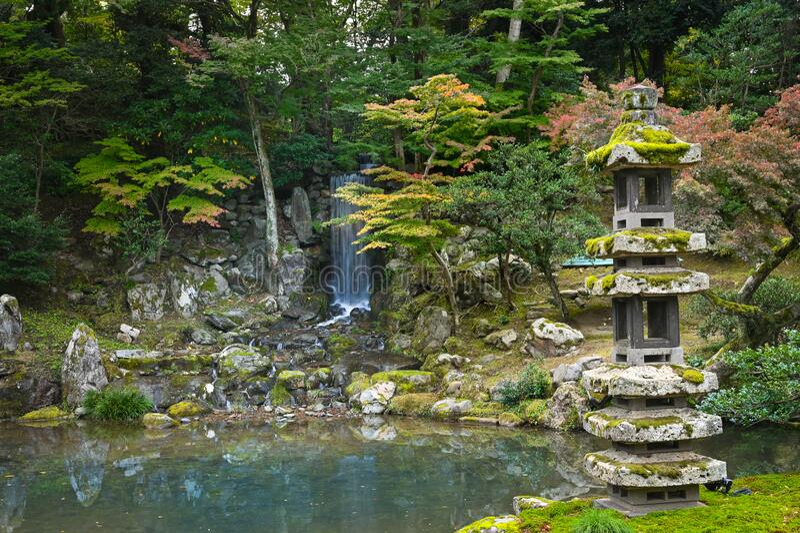 Kenrokuen Garden, Kanazawa, Japan arkivbild