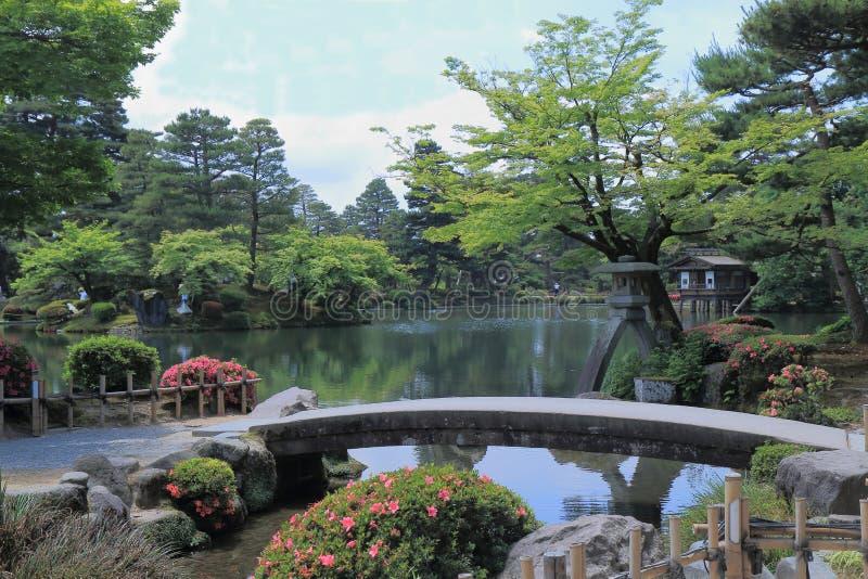 Kenrokuen trädgård Kanazawa Japan fotografering för bildbyråer