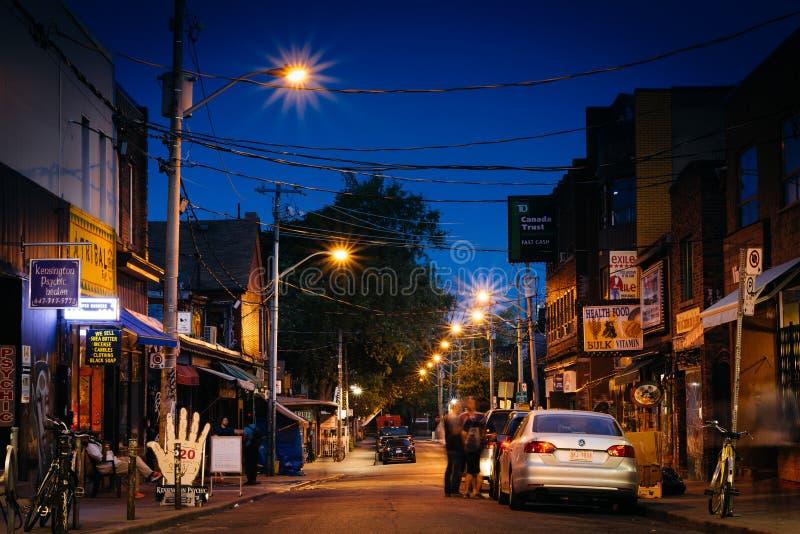 Kensington Avenue at night, in Kensington Market, in Toronto, On stock photo