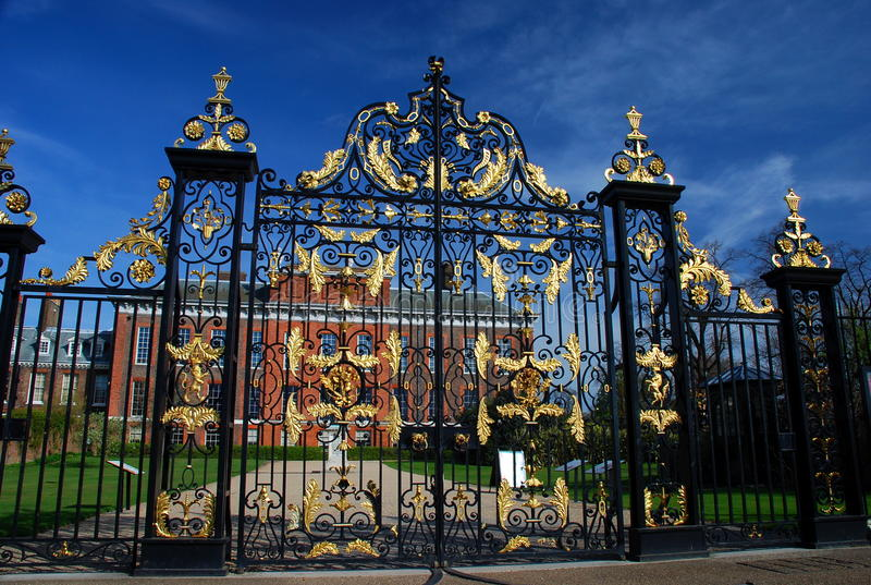 Kensington Palace gate. London, England stock photography