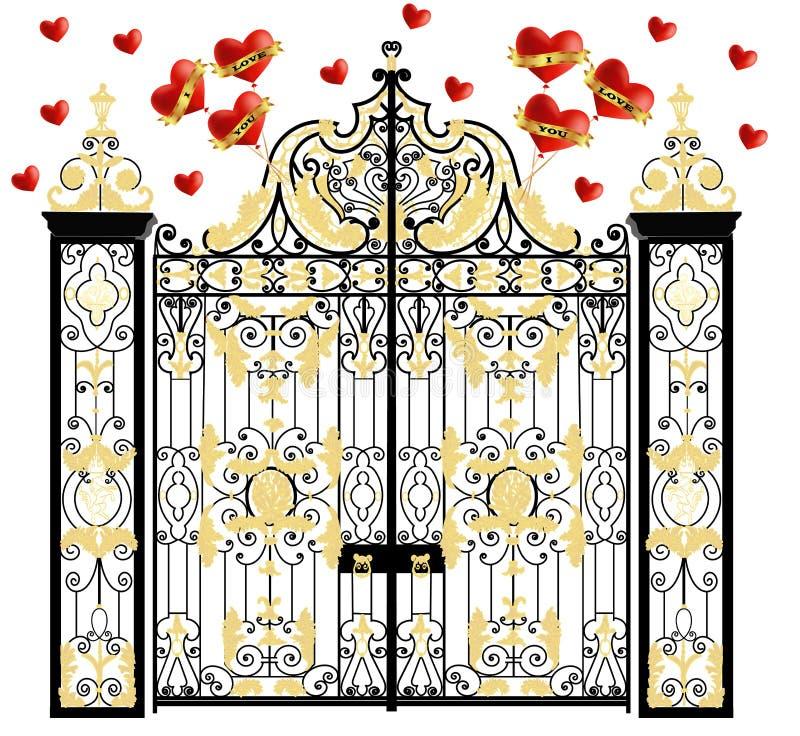 Kensington slottport med hjärtor, hem av hertigen och hertiginna av cambridge, kunglig förälskelse, valentindag stock illustrationer