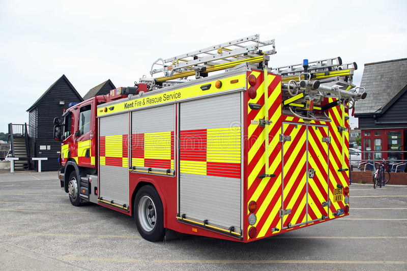 Kent fire and rescue service. Photo of a british fire engine belonging to the kent fire and rescue service department. photo taken on 20th june 2015 at royalty free stock image
