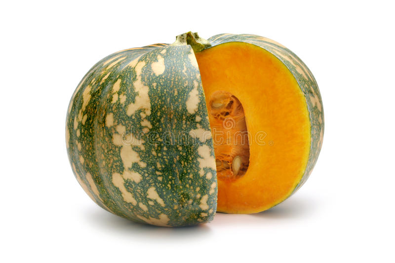 Kent Pumpkin. With wedge cut out isolated on white stock images