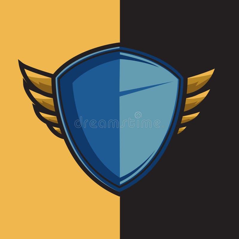 Kenteken blauw gevleugeld schild voor het ontwerpornament van het esportembleem vector illustratie