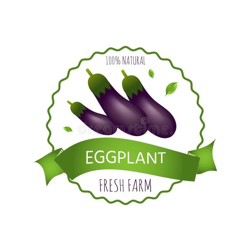 Kenteken, embleem of markering met realistische gezonde groenten royalty-vrije illustratie