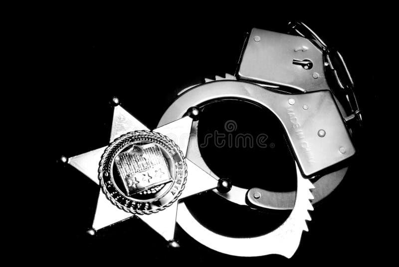 Kenteken en Handcuffs stock foto