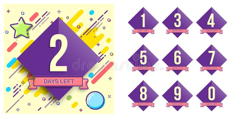 Kenteken met aantal dagen verlaten voor verkoop of bevorderingsbanners of stickers Vector ontwerpmalplaatje royalty-vrije illustratie