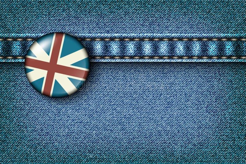 Kenteken met de Britse vlag op de jeans royalty-vrije illustratie