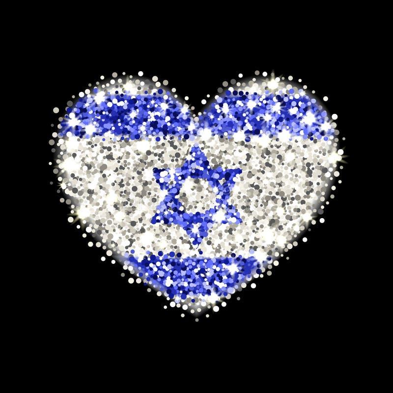 Kenteken van het de vlag het fonkelende hart van Israël royalty-vrije illustratie