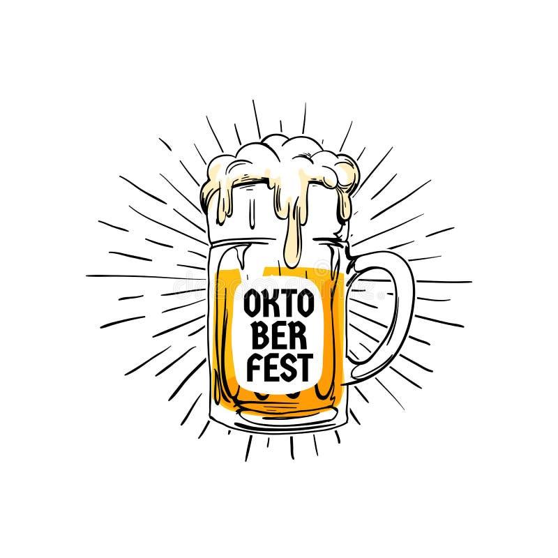 Kenteken van het Oktoberfest het uitstekende embleem Het concept van het het bierfestival van München Oud stijlhand getrokken vol stock illustratie