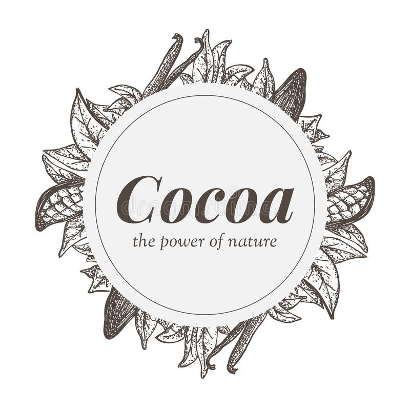 Kentekenontwerp met kokosboomelementen en vanillepeulen royalty-vrije illustratie