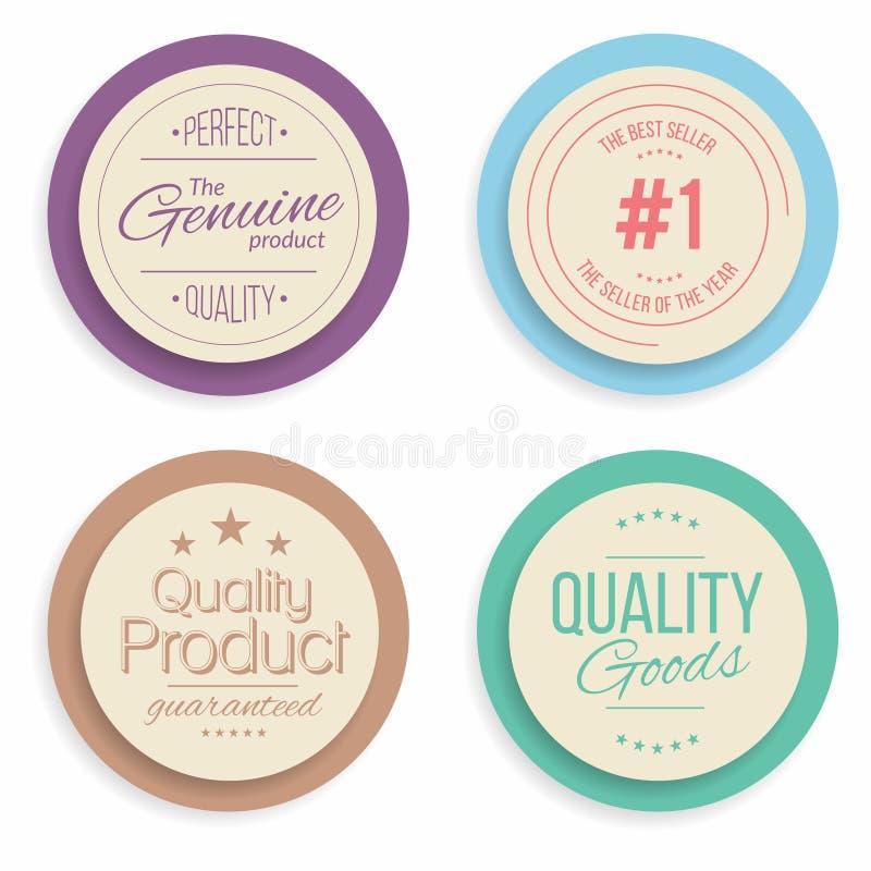 Kentekens en etiketteninzameling Kwaliteit, verzekeringstekens royalty-vrije illustratie