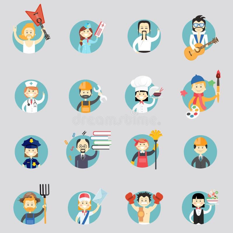 Kentekens met avatars van verschillende beroepen royalty-vrije illustratie