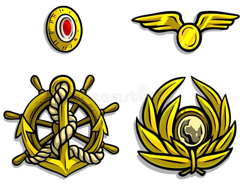 Kentekens van het beeldverhaal de gouden leger voor een hoogtepunt bereikte kappen stock illustratie