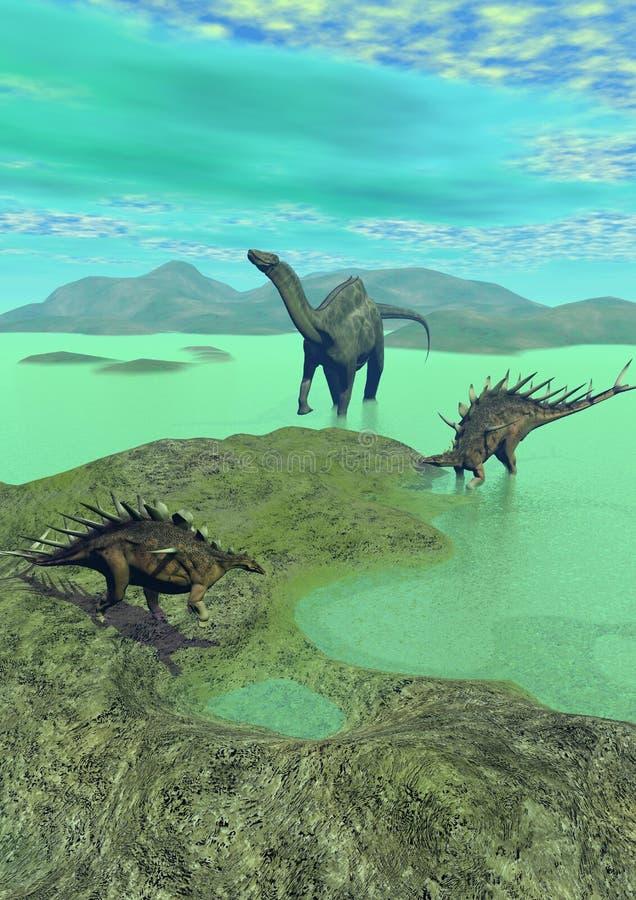 Kentrosaurus en dicraeosaurus 3d dinosaurus - stock illustratie
