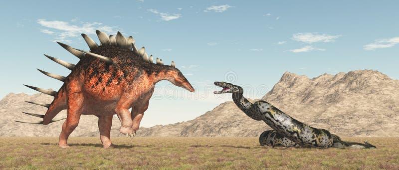 Kentrosaurus et serpent géant Titanoboa de dinosaure illustration stock