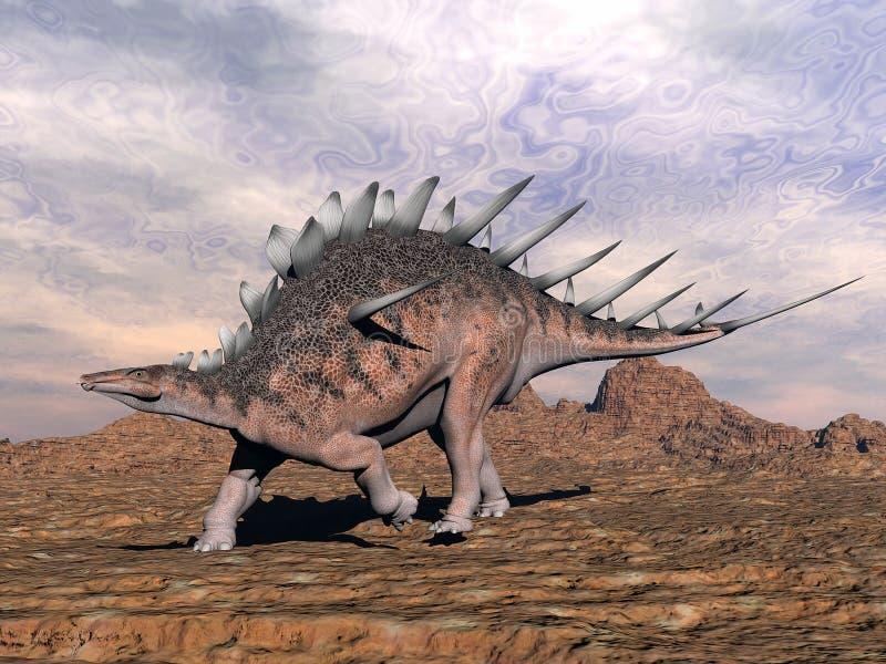 Kentrosaurusdinosaurus in de 3D woestijn - geef terug royalty-vrije illustratie