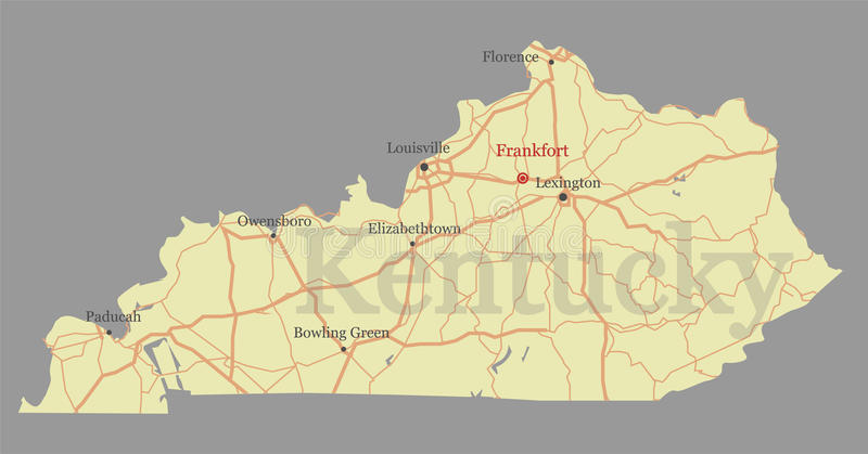 Kentucky accurate vector exact detailed State Map with Community. Assistance and Activates Icons Original pastel Illustration. United States of America royalty free illustration